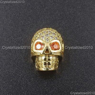 Zircon Gemstones Pave Horizontal Drilled Skull Bracelet Connector Charm Beads 10
