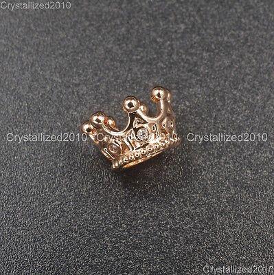 Zircon Gemstones Pave Queen Crown Big Hole Bracelet Connector Charm Beads 6x11mm 8