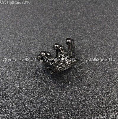 Zircon Gemstones Pave Queen Crown Big Hole Bracelet Connector Charm Beads 6x11mm 10