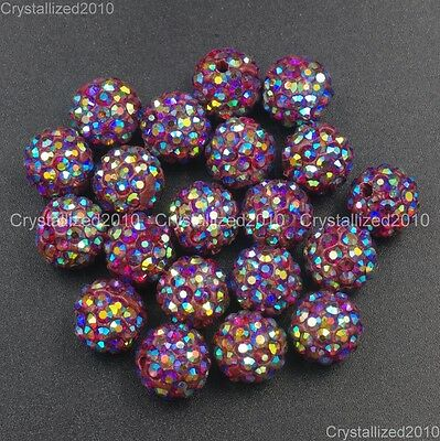 20Pcs Quality Czech Crystal Rhinestones Pave Clay Round Disco Ball Spacer Beads 12
