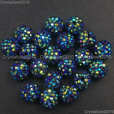 20Pcs Quality Czech Crystal Rhinestones Pave Clay Round Disco Ball Spacer Beads 7