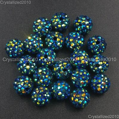 20Pcs Quality Czech Crystal Rhinestones Pave Clay Round Disco Ball Spacer Beads 10