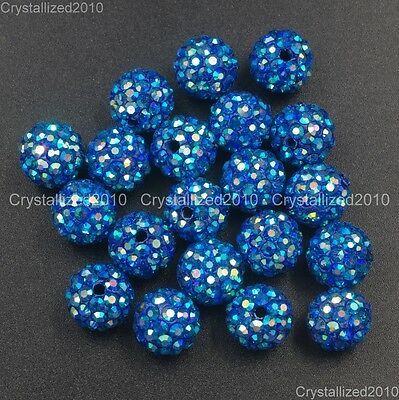20Pcs Quality Czech Crystal Rhinestones Pave Clay Round Disco Ball Spacer Beads 11