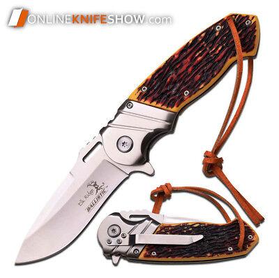 ELK RIDGE SIMULATED BONE TACTICAL Spring Assisted Knife Pocket Blade LEATHER NEW 2