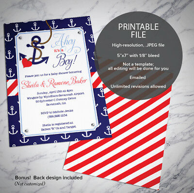 It's just a photo of Nautical Baby Shower Invitations Printable intended for birthday invitation