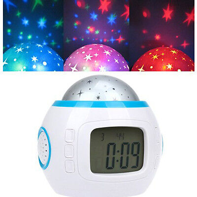 Kids Music LED Star Sky Projection Lamp Digital Alarm Clock Calendar Thermometer 5