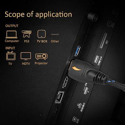 25FT GOLD HDMI v1.4 Cable w/Nylon Net Ferrite Cores 1080P 3D Ethernet HDTV DVD