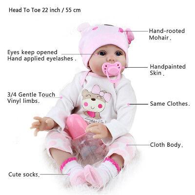 22'' Realistic Newborn Girl Silicone Vinyl Reborn Baby Dolls Handmade Xmas Gift 4