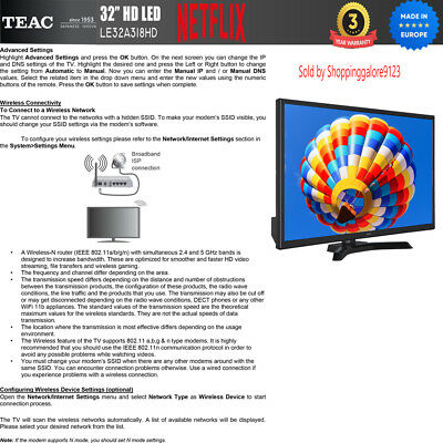 "TEAC 32"" Inch HD SMART TV Netflix Youtube WIFI PVR APP Made Europe 3 Yr Warranty 10"