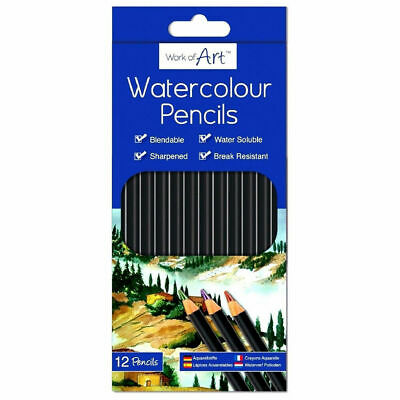12 Watercolour Artist Pencils For Drawing Painting Sketching Art Water Colour UK 2