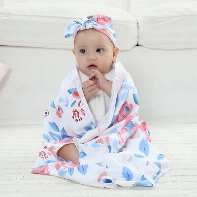 Blue Newborn Baby Boys Girls Blanket Swaddle Wrap Sleeping Bag + Headband Sets 2