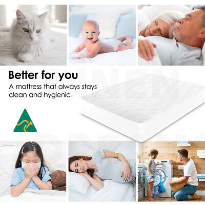 Aus Made Fitted Cotton Cover Quilted Mattress Protector Topper Underlay ALL SIZE 9