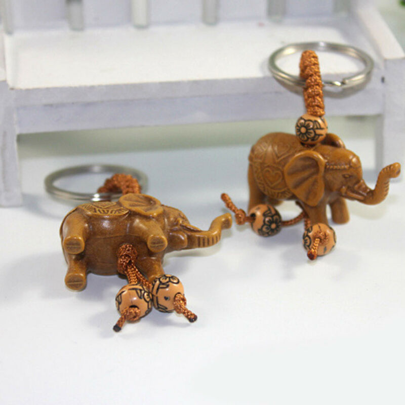 Lucky Elephant Carving Wooden Pendant Keychain Key Chain Ring Evil Defends Gift 11