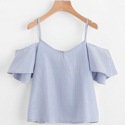 2017 Fashion Sexy Womens Loose Casual Stripe Off Shoulder Shirt Tank Tops Blouse 2