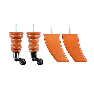 4 Wooden Legs with castors for sofa chair footstool replacement castor legs feet 4