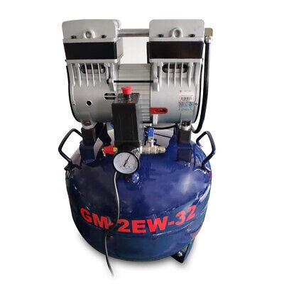 Dental Noiseless Oil-Free Oilless Air Compressor 32L Gas tank 850W AC220V DHL 3