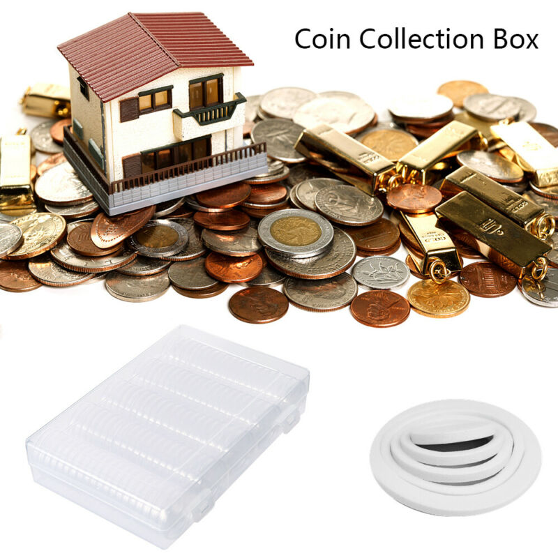 100PCS Coin Cases Capsules Holder Applied Plastic Rounds Storage Box+100 Gaskets 10