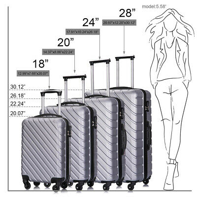 4 Piece Travel Luggage Set Lightweight Suitcase Spinner Hardshell Business Case 11