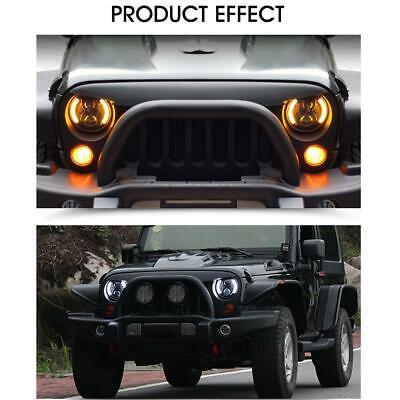 DOT Pair 7 Inch CREE LED Headlights Halo Angle Eye For Jeep Wrangler JK TJ CJ LJ 4