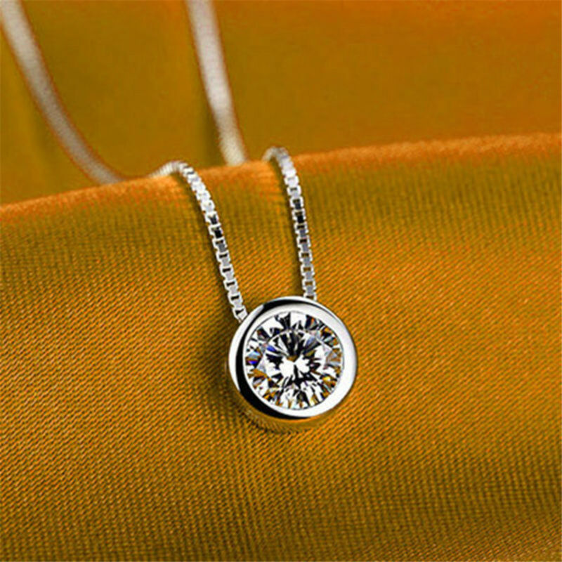 Fashion Women Round Single Crystal Rhinestone Silver Pendant Necklace Jewelry 3