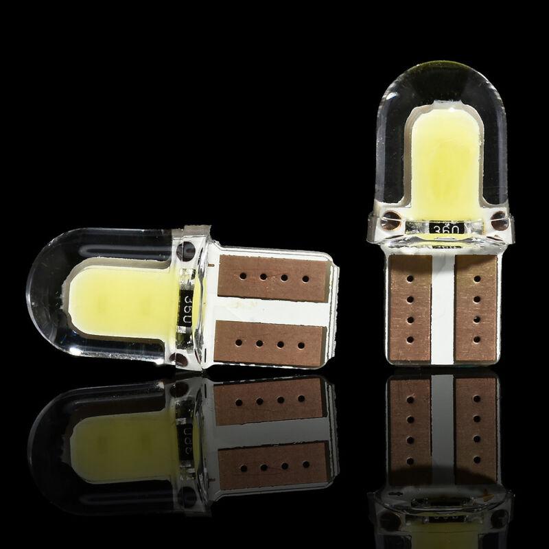 10pcs/kit LED T10 194 168 W5W COB 8SMD CANBUS Silica White License Light Bulbs 9