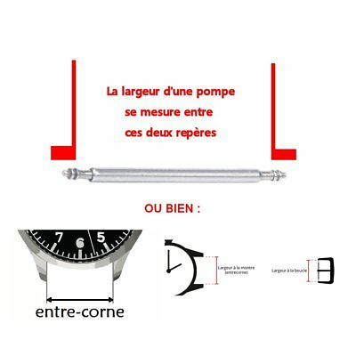 2 entre cornes barrettes ressort pompe tige piston bracelet de montre 8 à 25mm 3