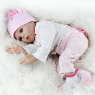 22'' Realistic Newborn Girl Silicone Vinyl Reborn Baby Dolls Handmade Xmas Gift 10