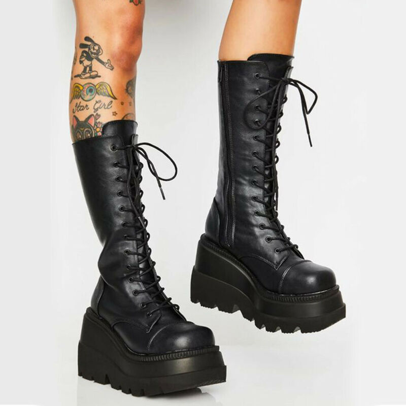 Women/'s Lady Platform Supper High Heel Casual Lace Up Mid Calf Punk Gothic Boots