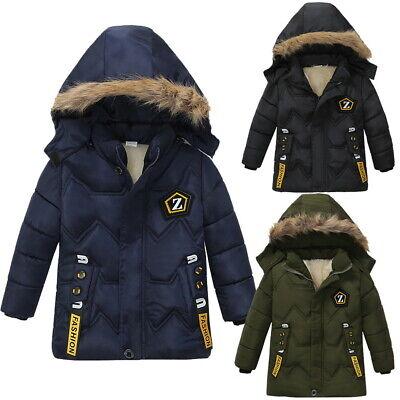Boys Kids Winter Coat Hooded Warm Cotton Fur Padded Parka Jacket Outerwear 2-6Y 3