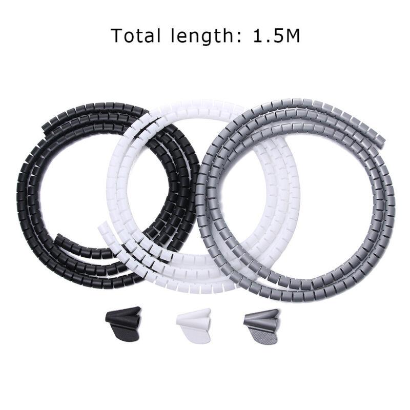 Kabelverkleidung Wrap Tube Organizer /& Band Management Wire Spiral Flexible Cord