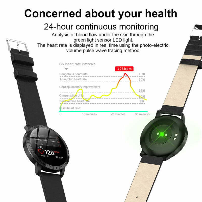 Waterproof Smart Watch Fitness Tracker Blood Pressure Heart Rate Tempered Mirror 9