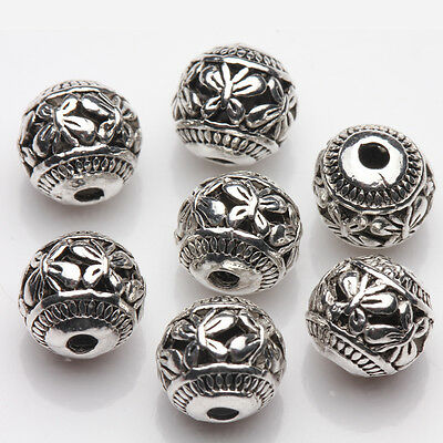Wholesale 10/20Pcs Tibetan Silver Hollow Butterfly Charm Spacer Loose Beads 8mm 4