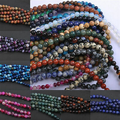 Wholesale Natural Stripe Agate DIY Gemstone Round Spacer Loose Beads 4/6/8/10MM 3