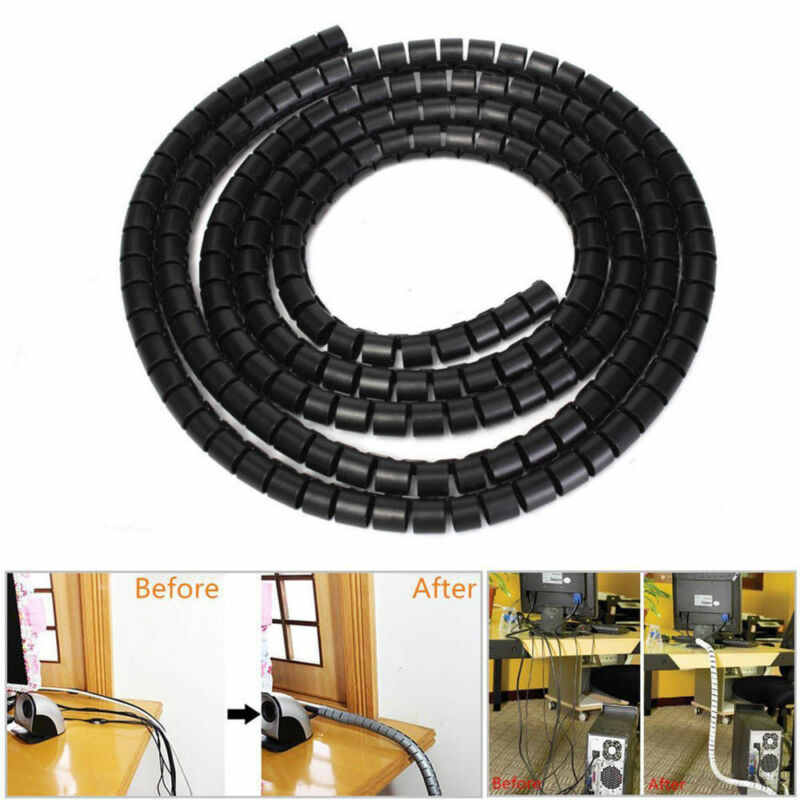 2M Cable Hide Wrap Tube 10/25mm Organizer & Management Wire Spiral Flexible Cord 2