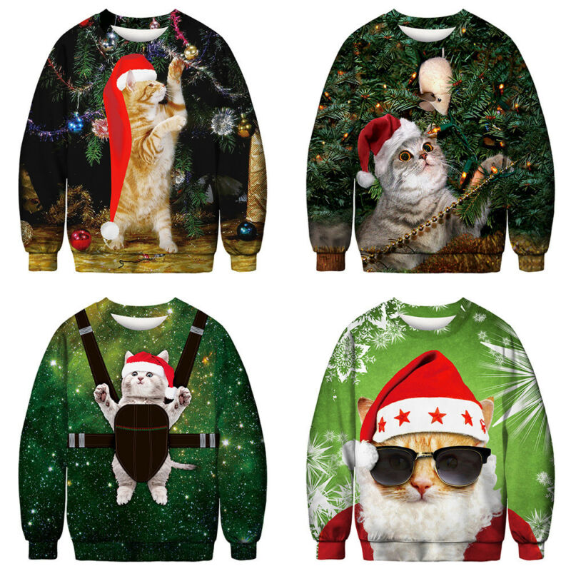 Unisex Ugly Christmas Sweater Santa Xmas Pullover Jumpers Casual Sweatshirt Tops 4