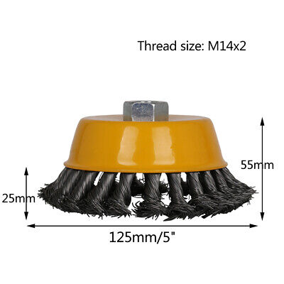 """5"""" M14 Twist Knot Steel Wire Wheel Cup Brush Angle Grinder Metal Rust Removal 2"""