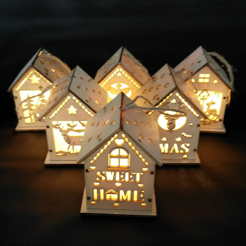 Christmas Wooden House Led Lights Interior Xmas Tree Hanging Ornament Decoration