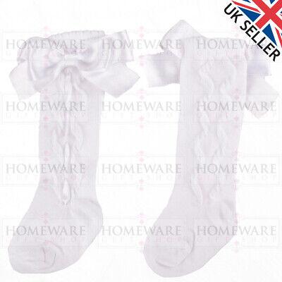 Girls Knee High Bow Socks Spanish Style Slotted Ribbon Socks Uk Designer Kids 10