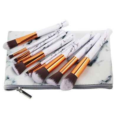 10 Kabuki Make up Brushes Set Cosmetic Foundation Face Powder Makeup Brush AU 12