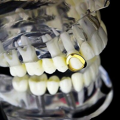 ... Open Face Grillz Single Cap 14k Gold Plated Hip Hop Tooth Top Grill  w Teeth fbb0c0b21081