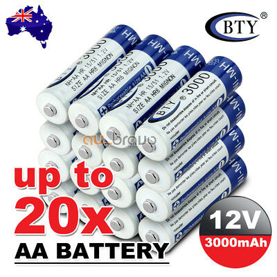 4-20X BTY AA Rechargeable Battery Recharge Batteries 1.2V 3000mAh Ni-MH OZ 3