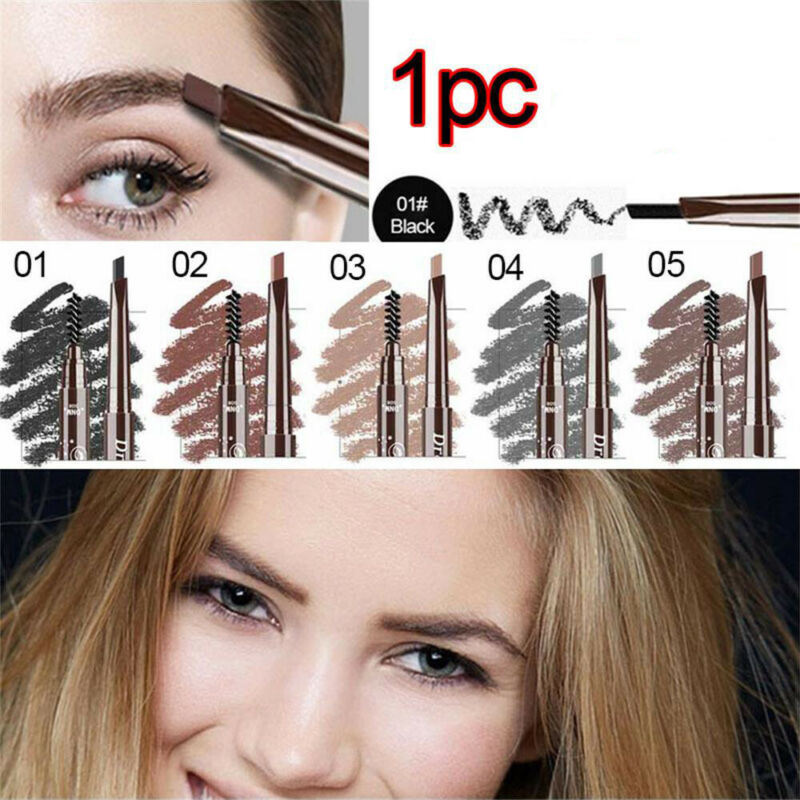 5 Color Double Ended Eyebrow Pencil Waterproof Long Lasting Triangle Rotatable 2