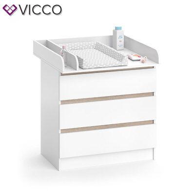 VICCO Wickelkommode Emma - Baby Wickeltisch Kommode mit 3 Schubladen Weiß Sonoma 6