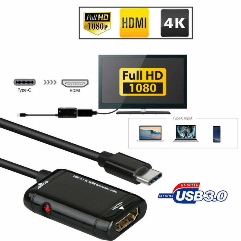 Hot USB-C Type C to HDMI Adapter USB 3.1 TV Cable For MHL Android Phone Tablet 3