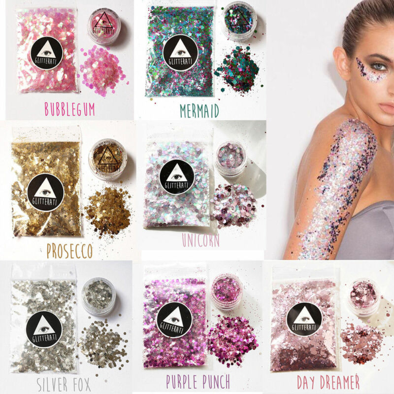 10g/bag Chunky Glitter Mixed Holographic Flake Body Art Nail Cosmetic Tattoo Art 5