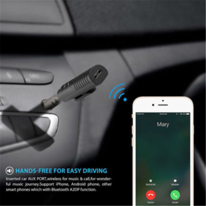 Wireless Car Receiver AUX Music 3.5mm Handsfree Stereo Audio Adapter 8