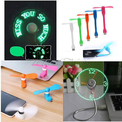 Portable Micro/Mini LED USB Cooling Clock Fan Flashing Real Time Display