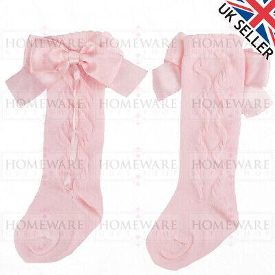 Girls Knee High Bow Socks Spanish Style Slotted Ribbon Socks Uk Designer Kids 8