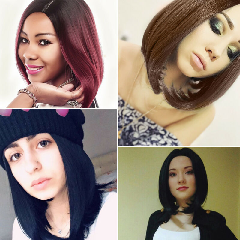 Womens Ladies Real Short Straight Wigs Natural Black Bob Hair Cosplay Wig UK 9