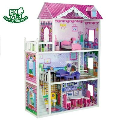 3 Storey Large Mansion Kids Girl Wooden Doll House Pink Dollhouse Furniture 18pc 2
